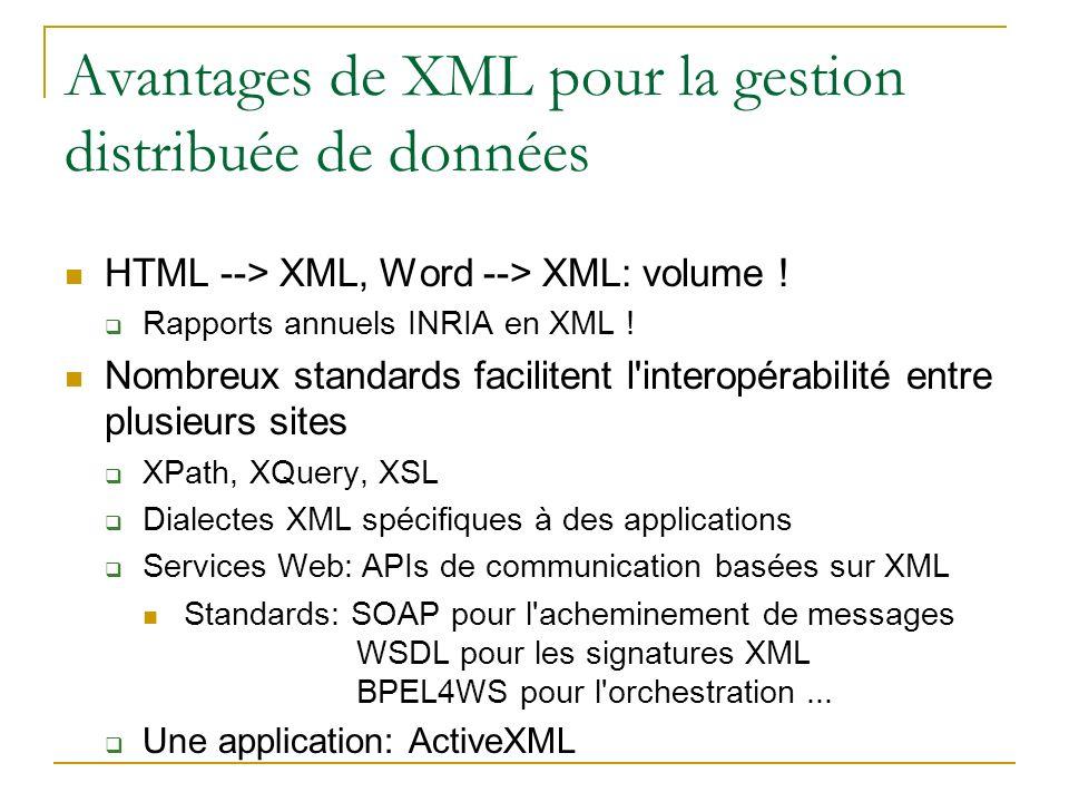 Avantages de XML pour la gestion distribuée de données