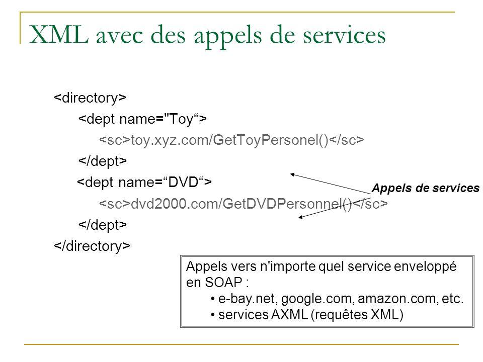 XML avec des appels de services