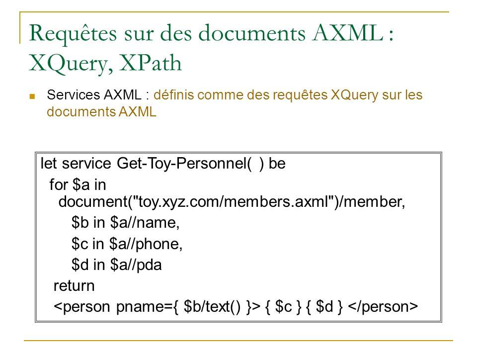 Requêtes sur des documents AXML : XQuery, XPath