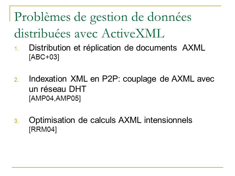 Problèmes de gestion de données distribuées avec ActiveXML