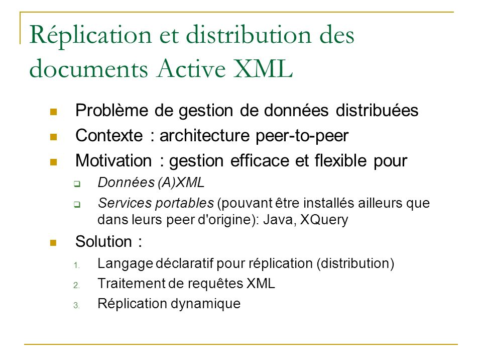 Réplication et distribution des documents Active XML