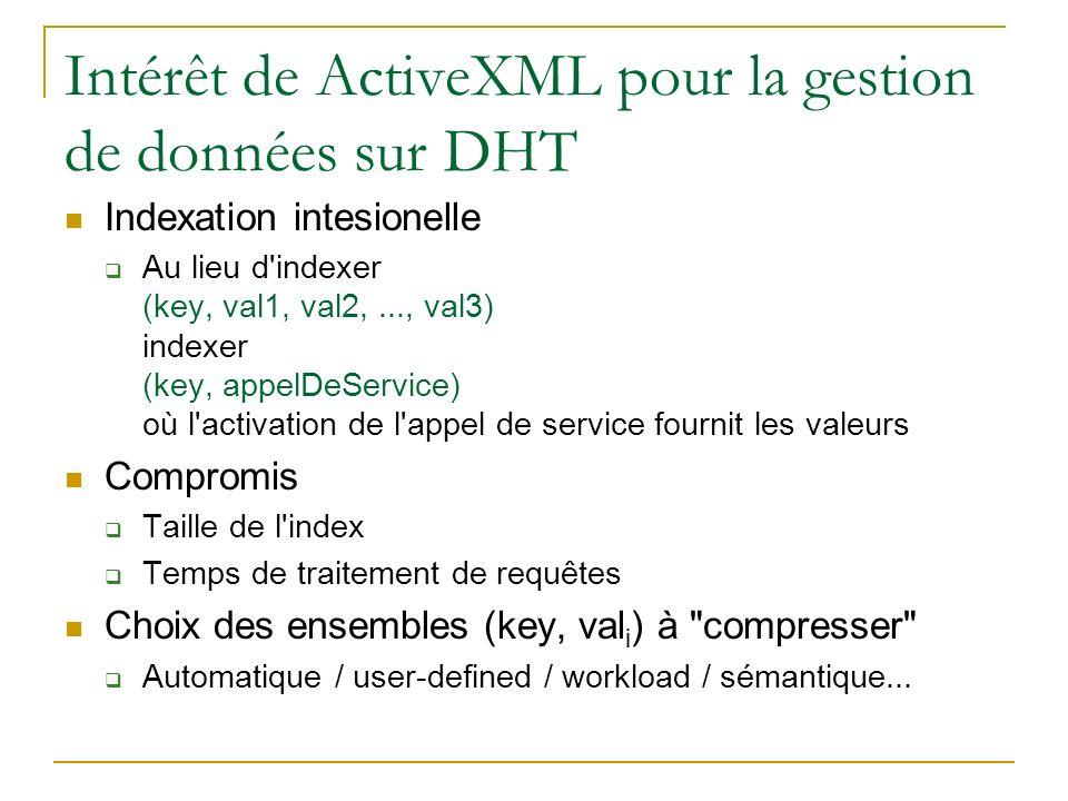 Intérêt de ActiveXML pour la gestion de données sur DHT