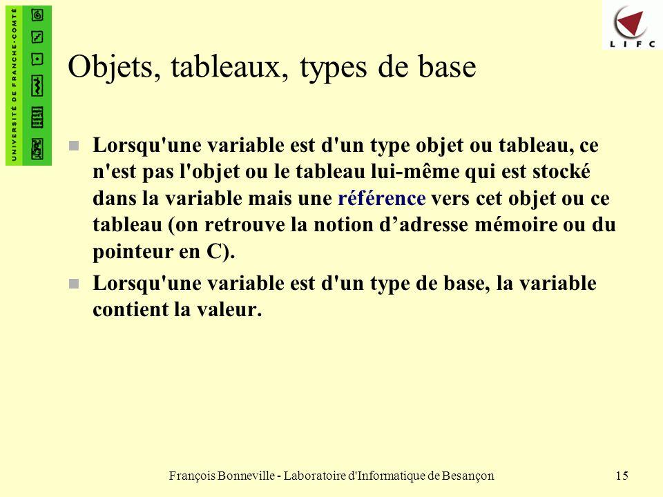 Objets, tableaux, types de base