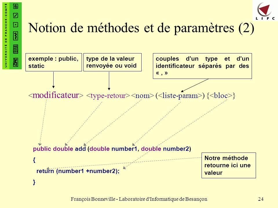 Notion de méthodes et de paramètres (2)