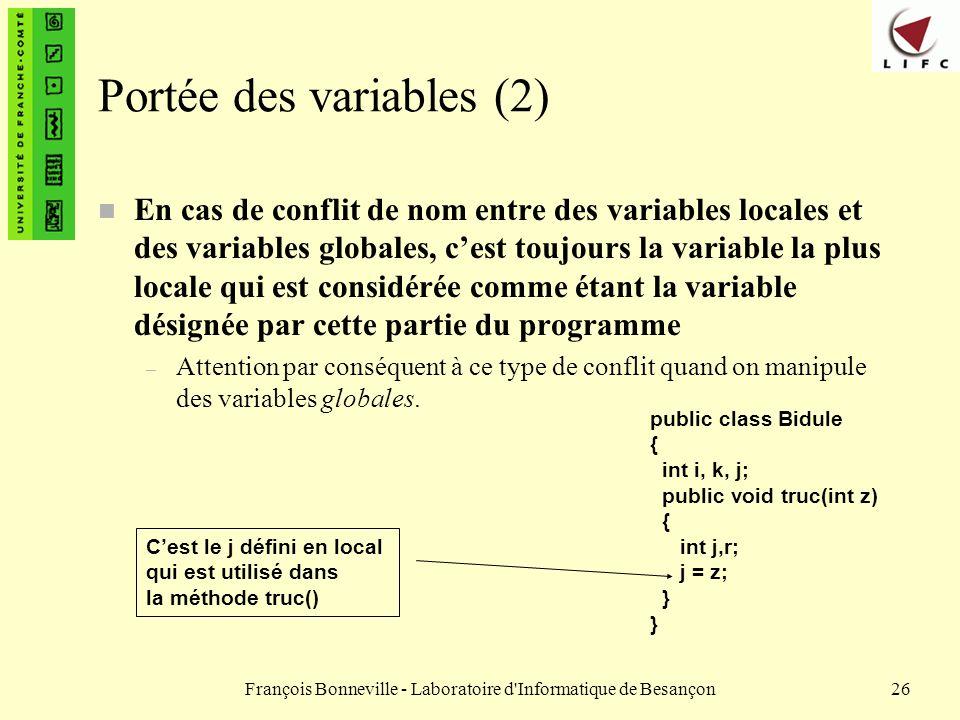 Portée des variables (2)
