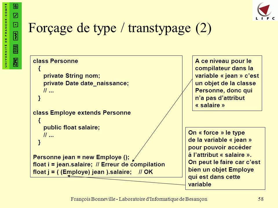 Forçage de type / transtypage (2)
