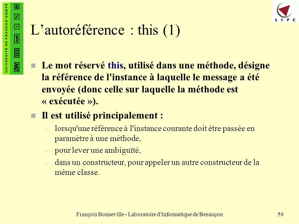L'autoréférence : this (1)