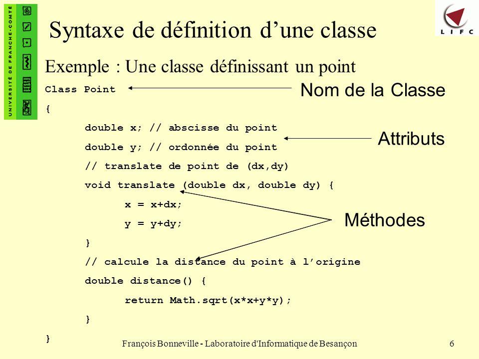 Syntaxe de définition d'une classe