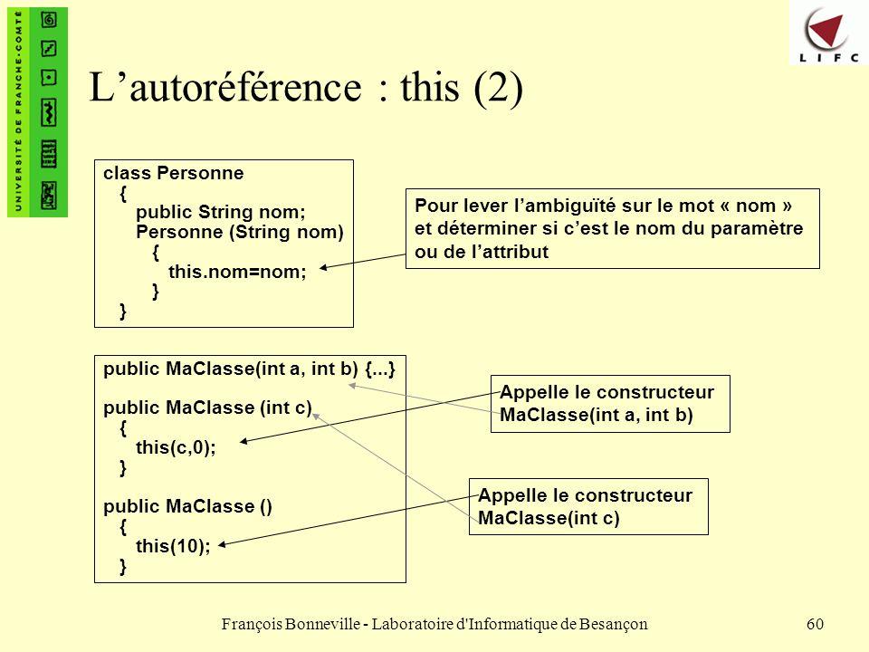 L'autoréférence : this (2)
