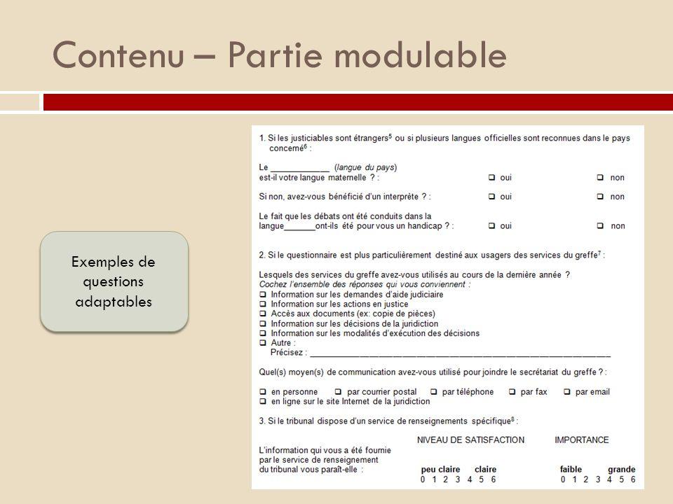 Contenu – Partie modulable
