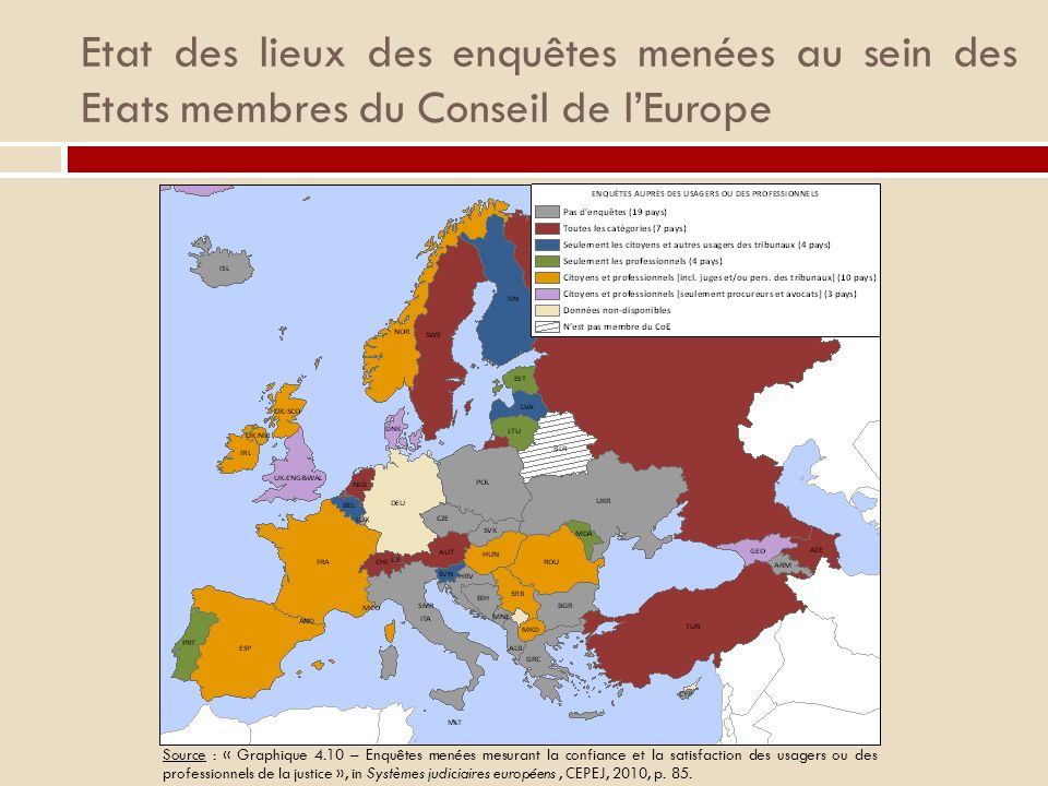 Etat des lieux des enquêtes menées au sein des Etats membres du Conseil de l'Europe