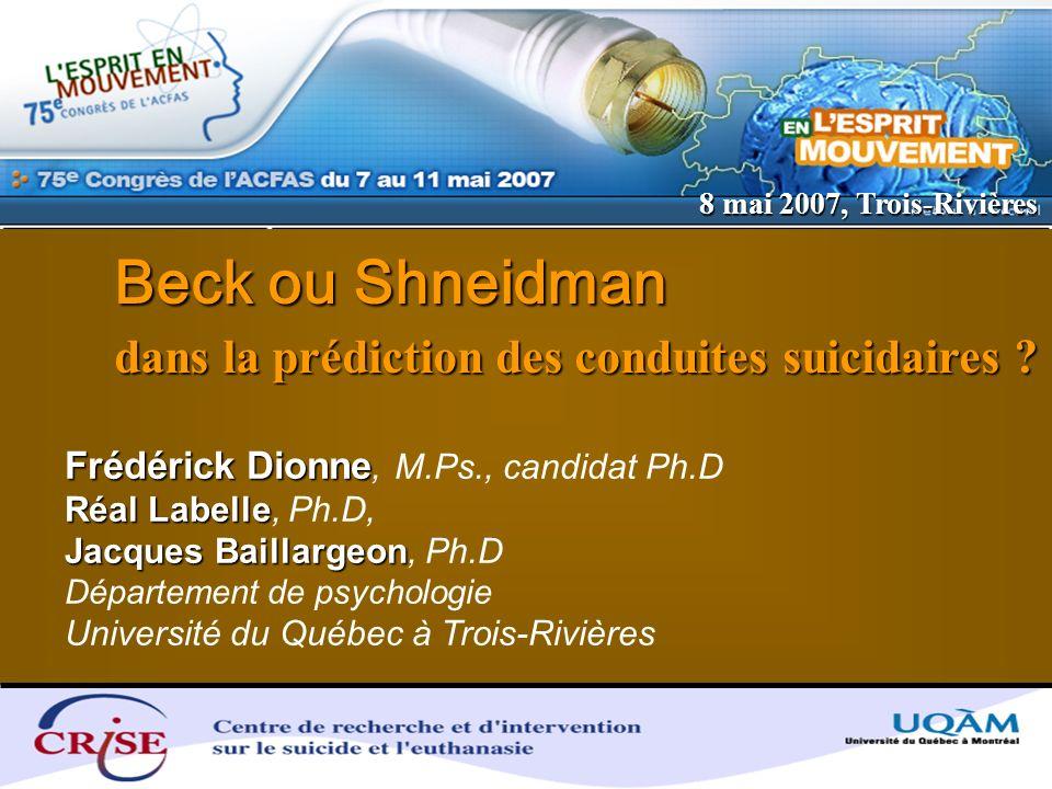 Beck ou Shneidman dans la prédiction des conduites suicidaires
