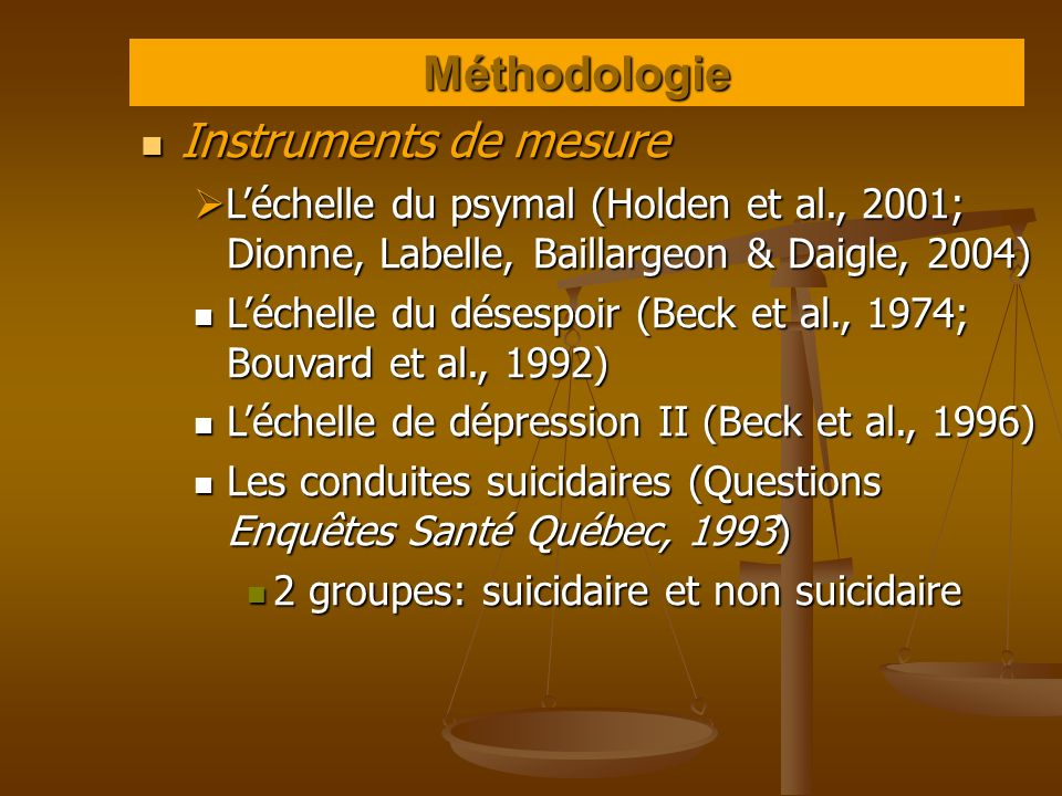 Méthodologie Instruments de mesure