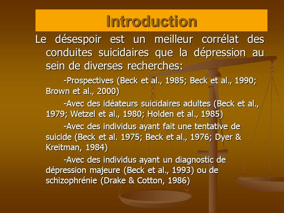 Introduction Le désespoir est un meilleur corrélat des conduites suicidaires que la dépression au sein de diverses recherches:
