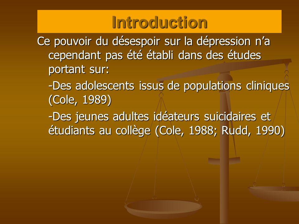 Introduction Ce pouvoir du désespoir sur la dépression n'a cependant pas été établi dans des études portant sur: