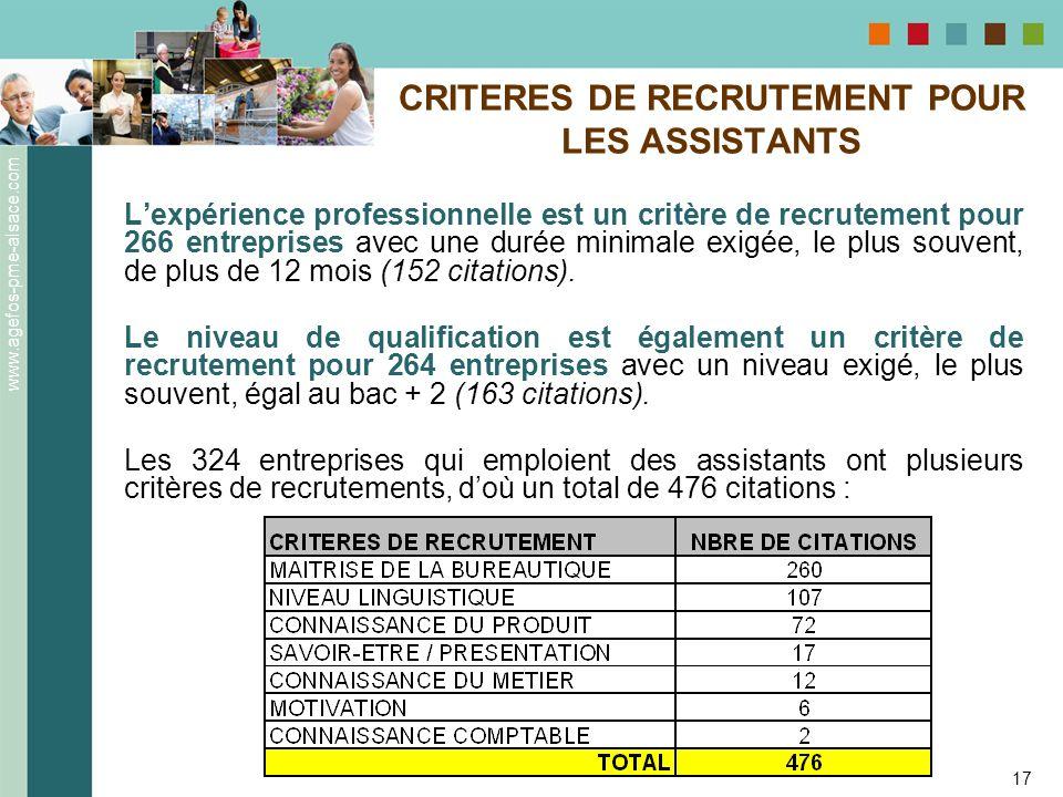 CRITERES DE RECRUTEMENT POUR LES ASSISTANTS