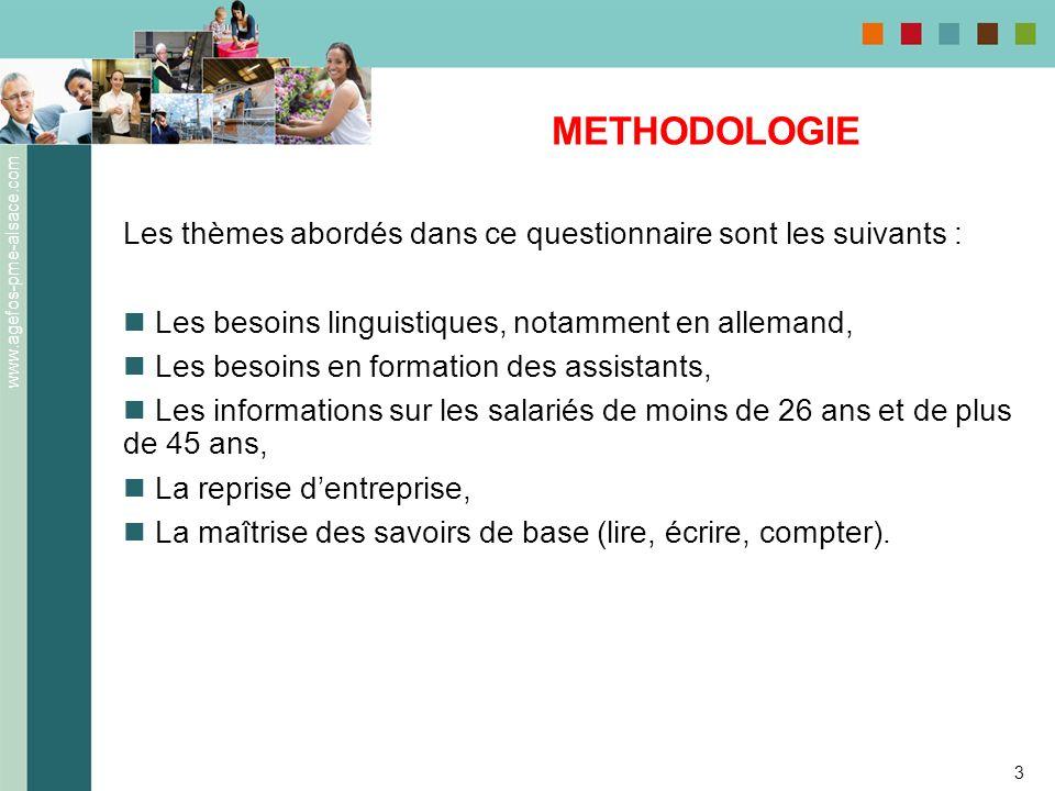 METHODOLOGIE Les thèmes abordés dans ce questionnaire sont les suivants : Les besoins linguistiques, notamment en allemand,