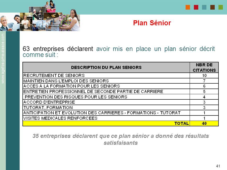 Plan Sénior 63 entreprises déclarent avoir mis en place un plan sénior décrit comme suit :