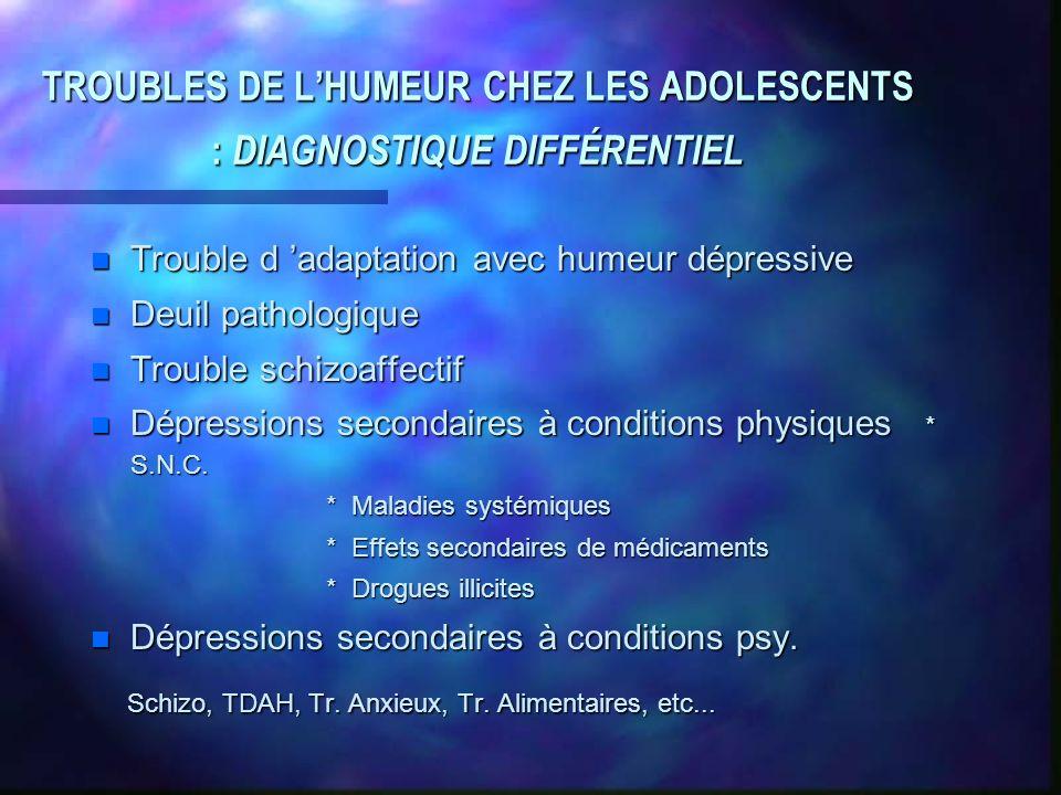 TROUBLES DE L'HUMEUR CHEZ LES ADOLESCENTS : DIAGNOSTIQUE DIFFÉRENTIEL
