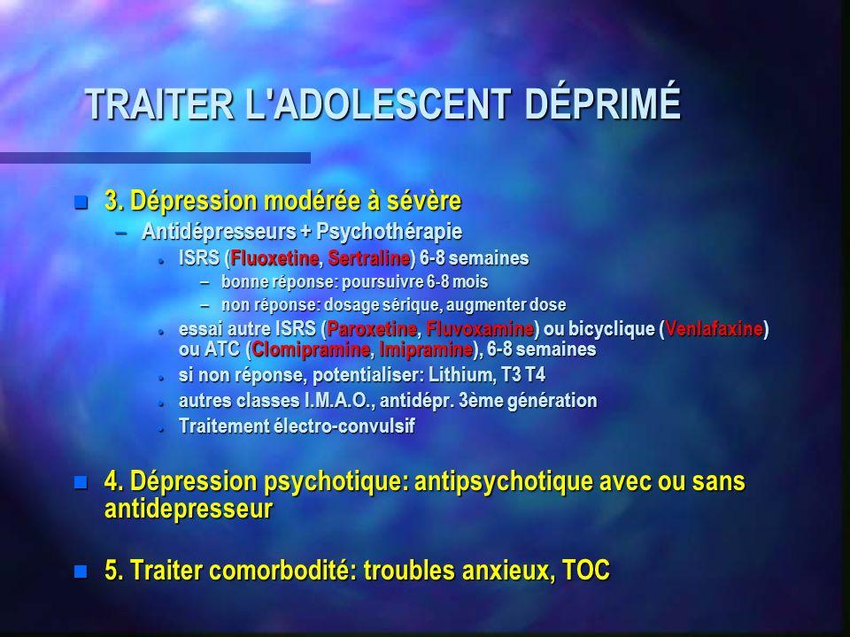 TRAITER L ADOLESCENT DÉPRIMÉ