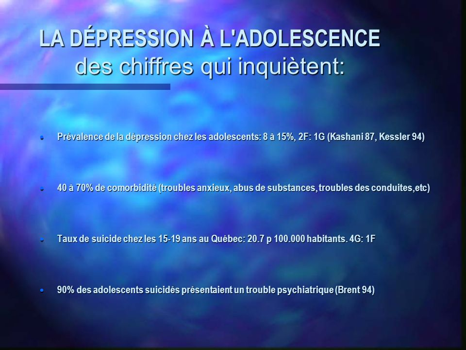 LA DÉPRESSION À L ADOLESCENCE des chiffres qui inquiètent: