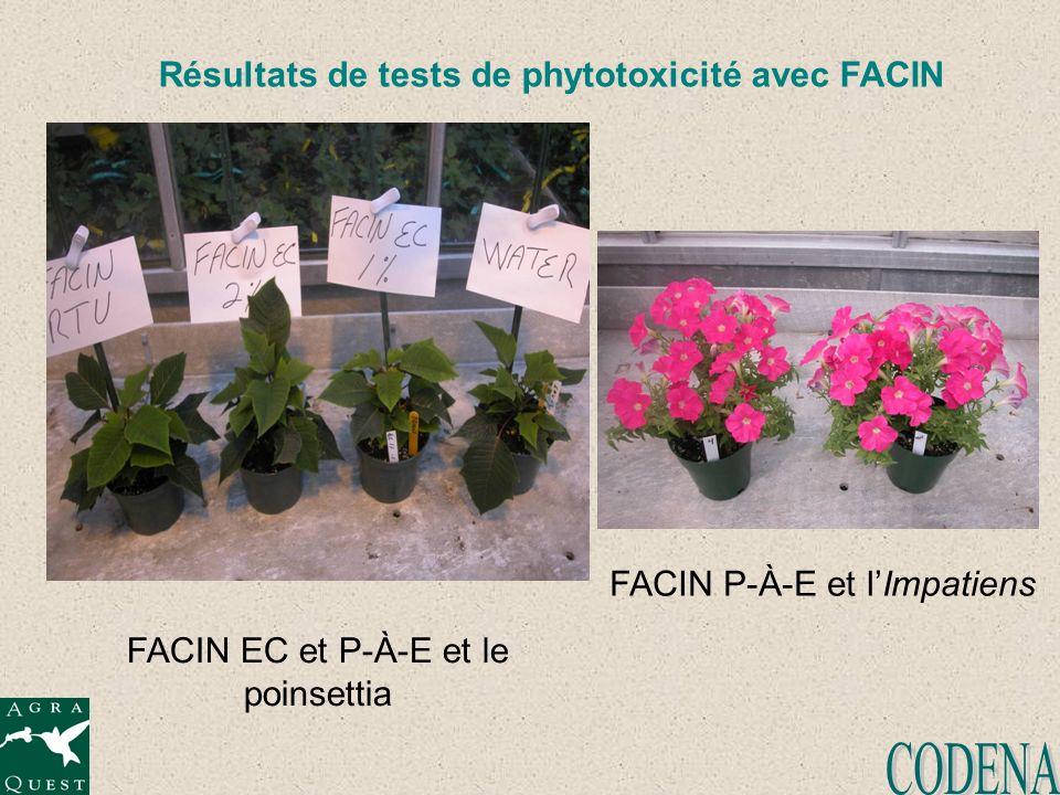 Résultats de tests de phytotoxicité avec FACIN