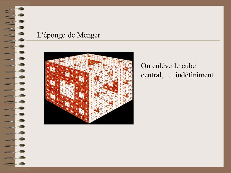 L'éponge de Menger On enlève le cube central, ….indéfiniment