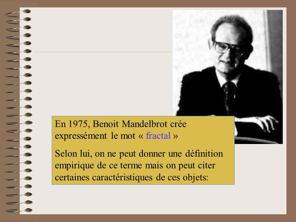 En 1975, Benoit Mandelbrot crée expressément le mot « fractal »