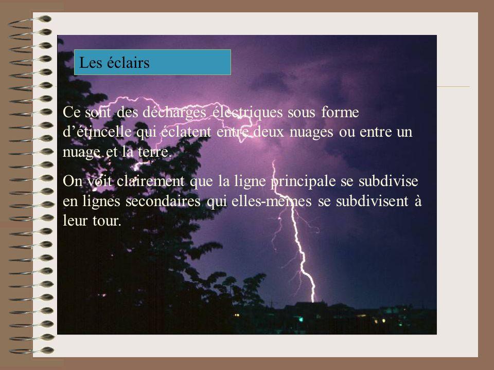 Les éclairs Ce sont des décharges électriques sous forme d'étincelle qui éclatent entre deux nuages ou entre un nuage et la terre.