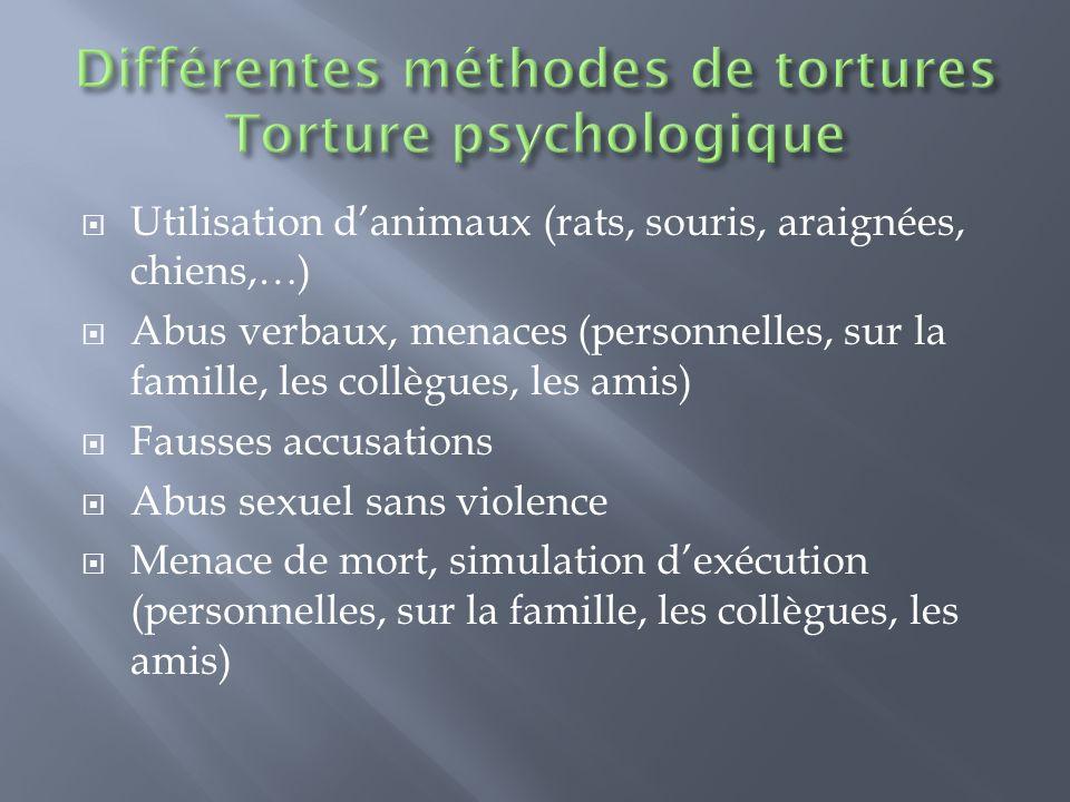 Différentes méthodes de tortures Torture psychologique