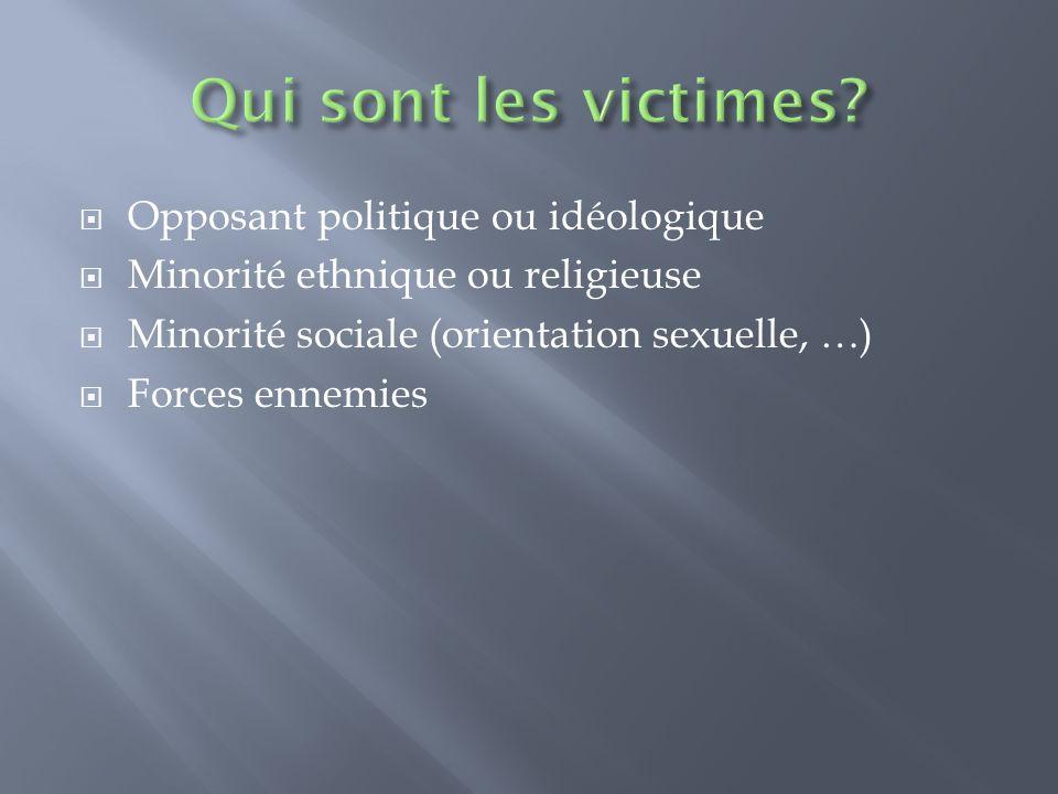 Qui sont les victimes Opposant politique ou idéologique