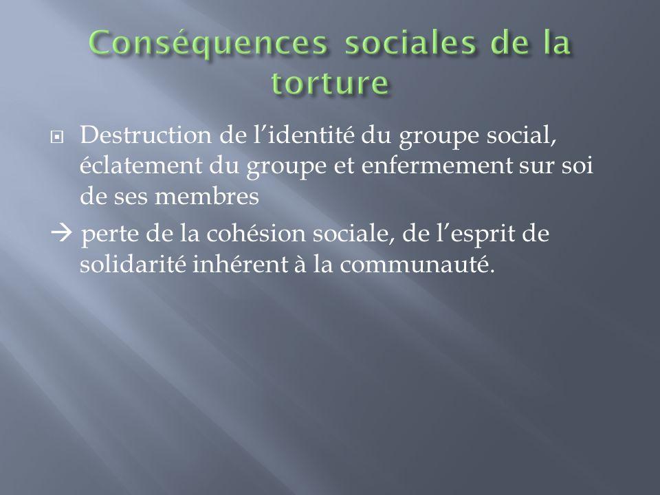 Conséquences sociales de la torture