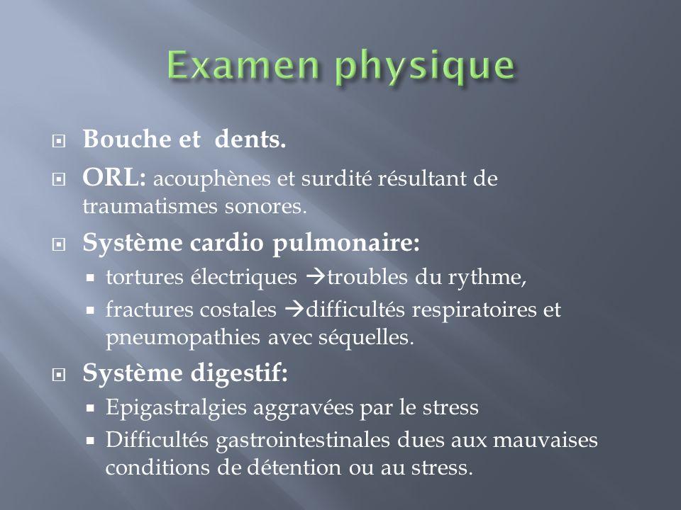 Examen physique Bouche et dents.
