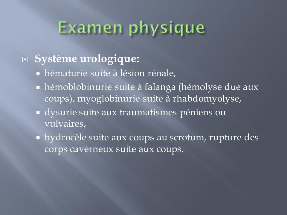 Examen physique Système urologique: hématurie suite à lésion rénale,