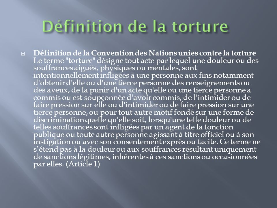 Définition de la torture