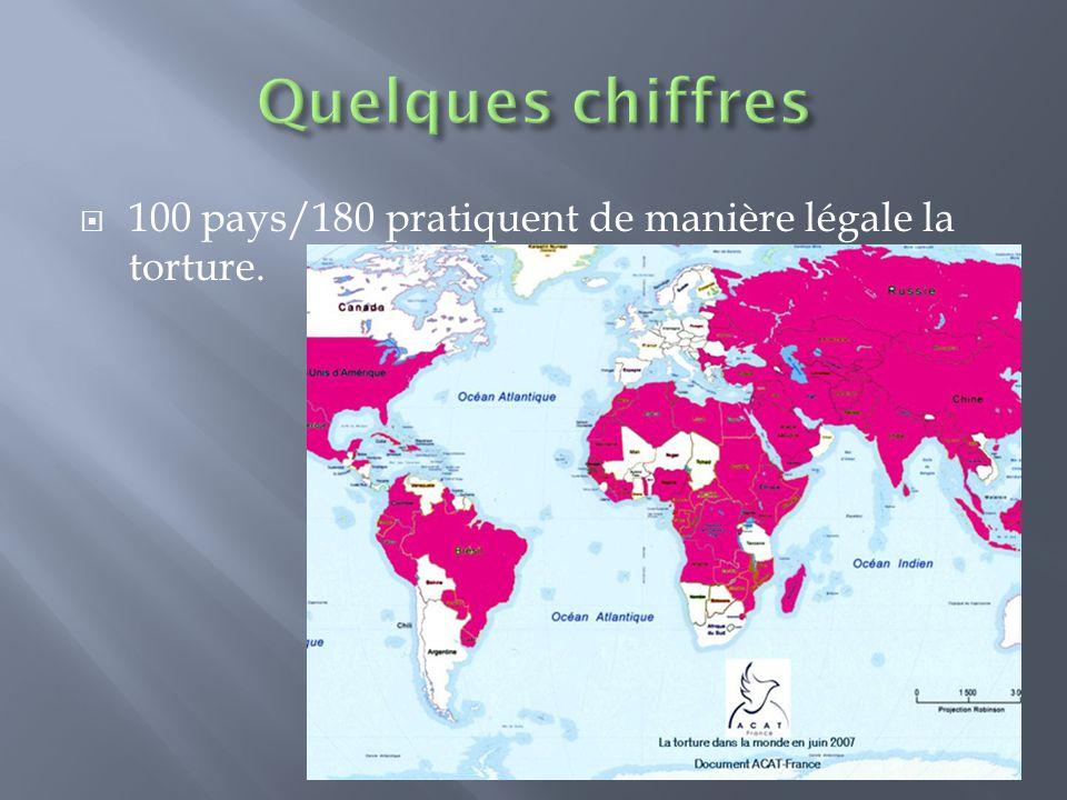Quelques chiffres 100 pays/180 pratiquent de manière légale la torture.