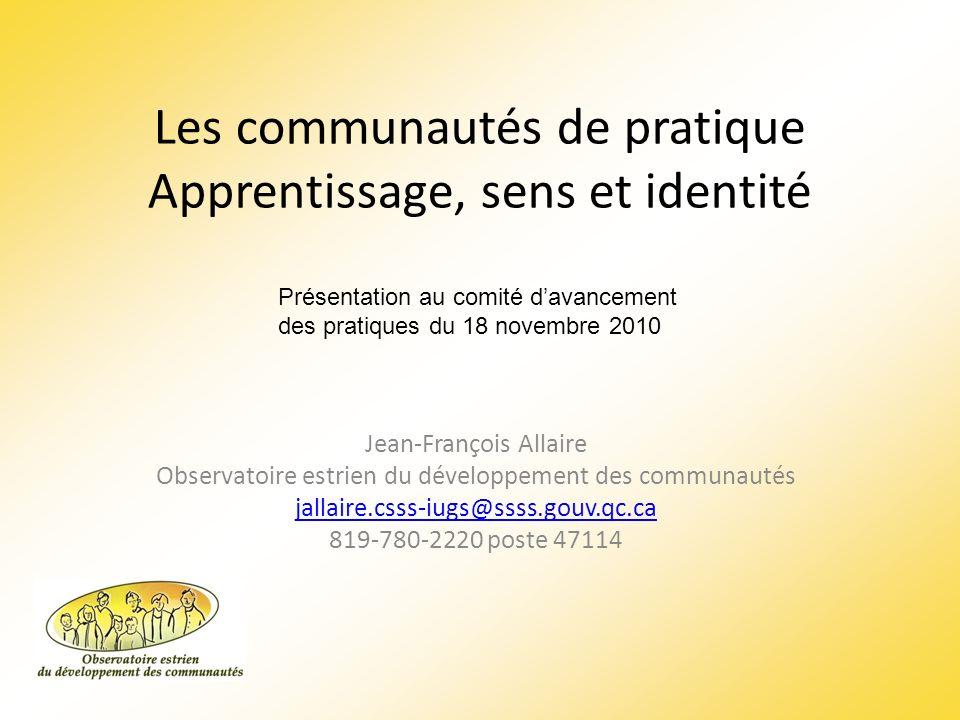 Les communautés de pratique Apprentissage, sens et identité