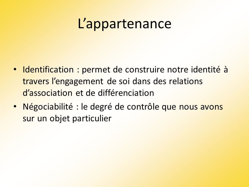 L'appartenance