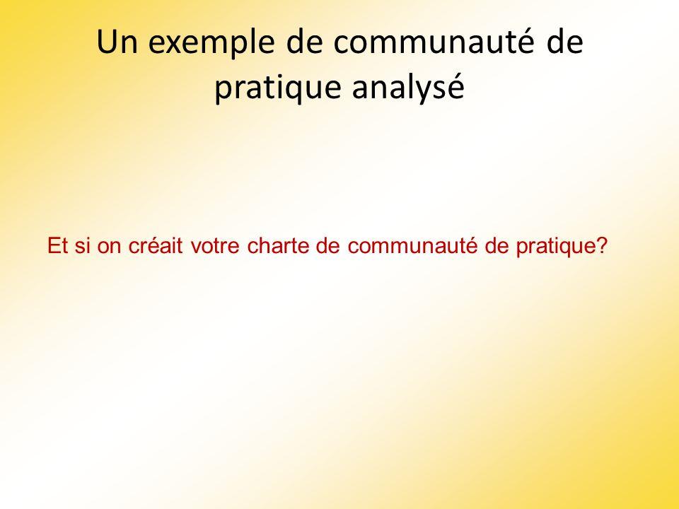 Un exemple de communauté de pratique analysé