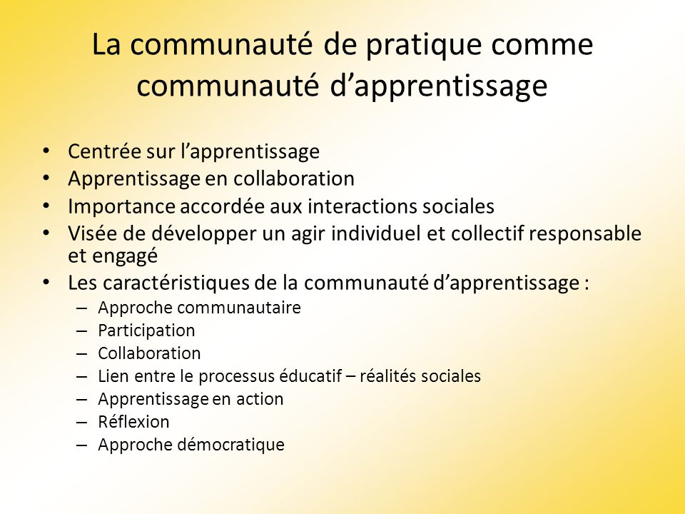 La communauté de pratique comme communauté d'apprentissage