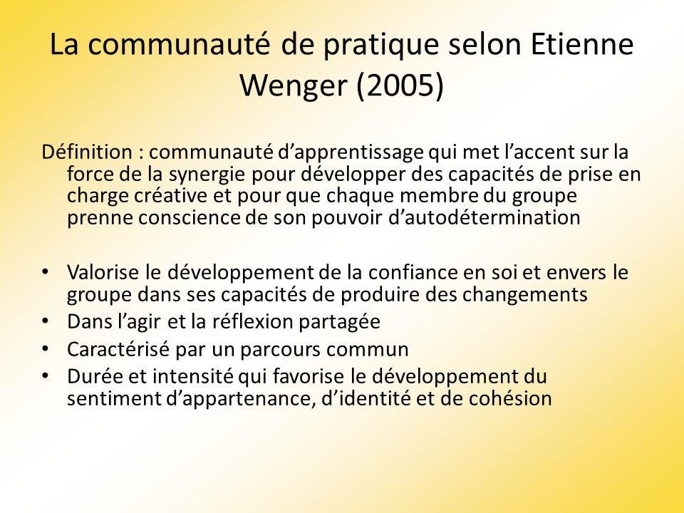 La communauté de pratique selon Etienne Wenger (2005)