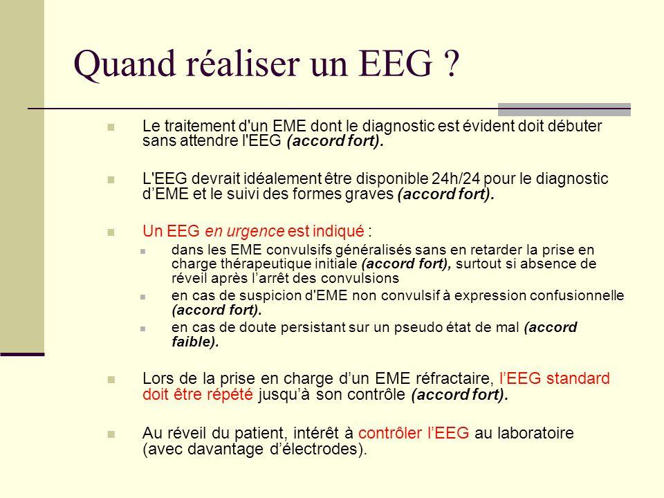 Quand réaliser un EEG Le traitement d un EME dont le diagnostic est évident doit débuter sans attendre l EEG (accord fort).