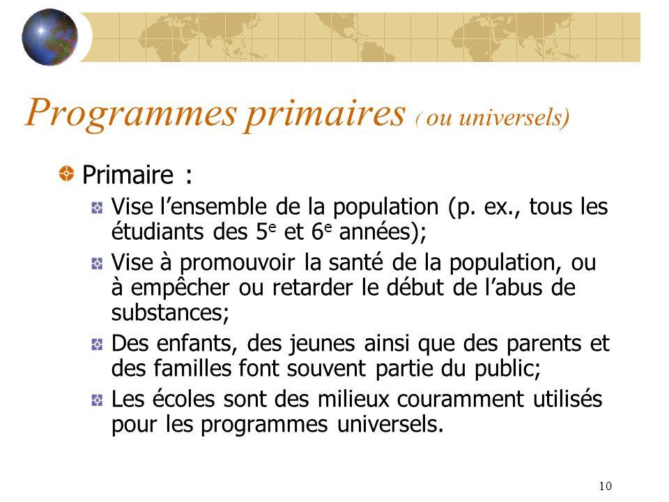 Programmes primaires ( ou universels)