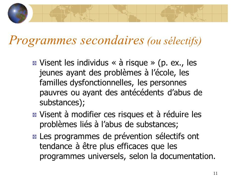 Programmes secondaires (ou sélectifs)