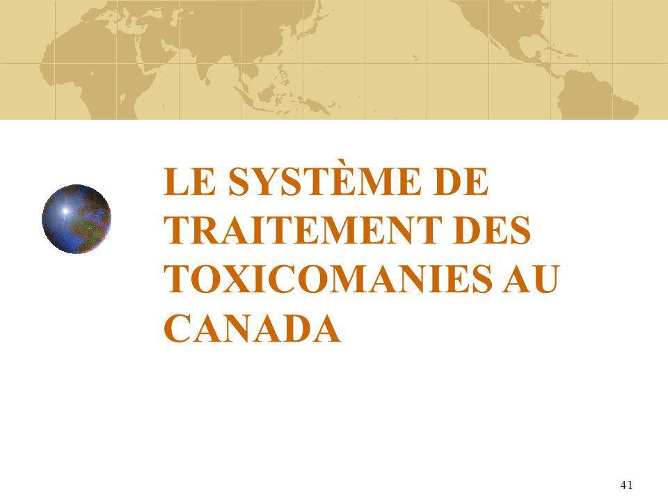LE SYSTÈME DE TRAITEMENT DES TOXICOMANIES AU CANADA