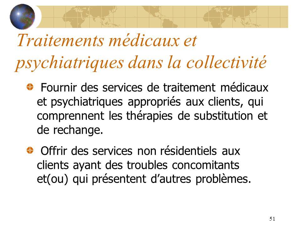 Traitements médicaux et psychiatriques dans la collectivité