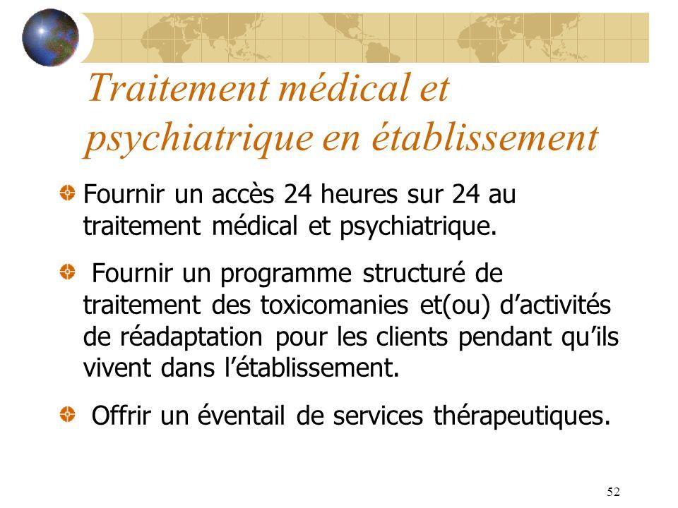 Traitement médical et psychiatrique en établissement