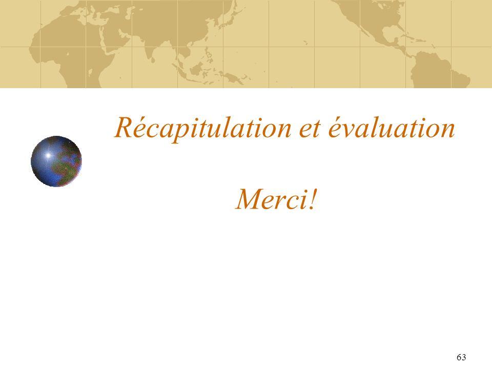 Récapitulation et évaluation Merci!