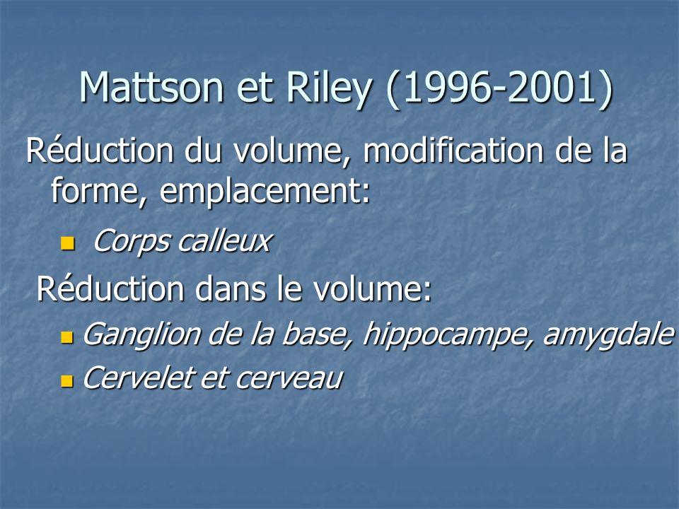 Mattson et Riley (1996-2001) Réduction du volume, modification de la forme, emplacement: Corps calleux.