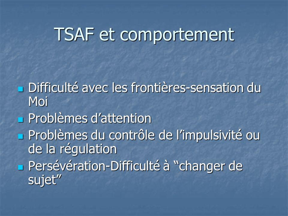TSAF et comportement Difficulté avec les frontières-sensation du Moi